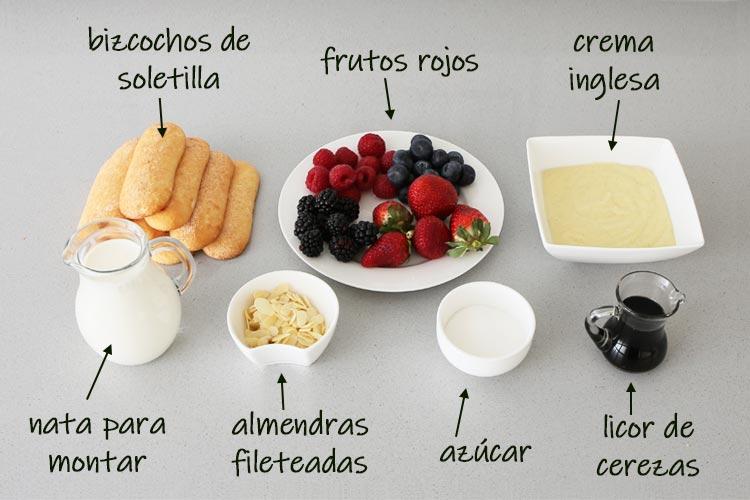 Ingredientes para hacer trifle de frutos rojos
