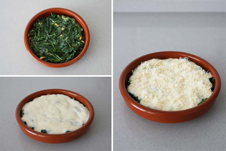 Cubrir las espinacas con la bechamel y el parmesano rallado