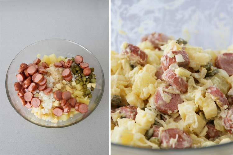 Mezclar todos los ingredientes de la ensalada y aliñar con la mahonesa