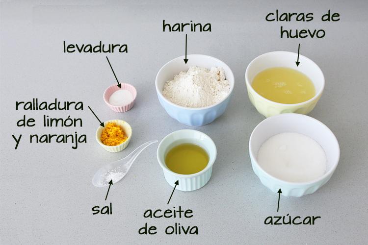 Ingredientes para hacer el bizcocho de claras