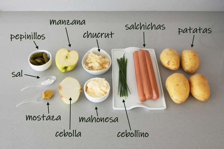 Ingredientes para hacer ensalada alemana