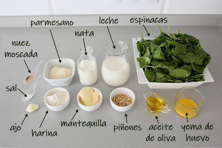 Ingredientes para hacer espinacas a la crema