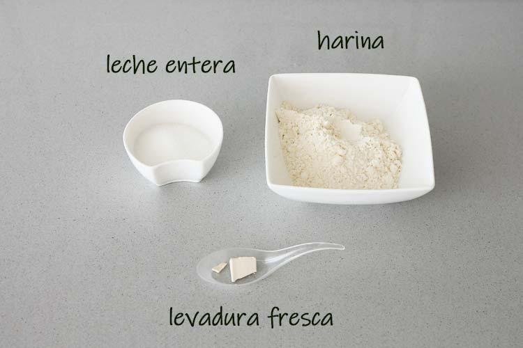Ingredientes para hacer el prefermento del Roscón de Reyes