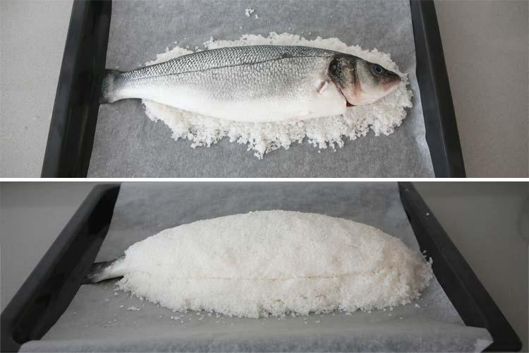 Cubrir la lubina con sal gorda
