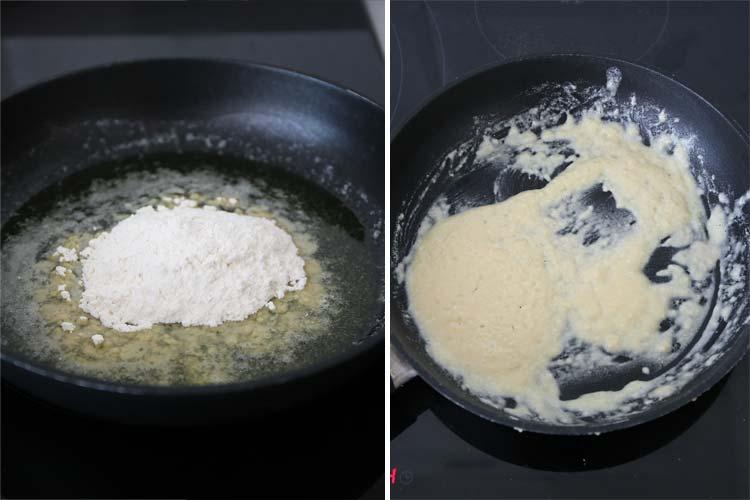 Dora la mantequilla e incorpora la harina