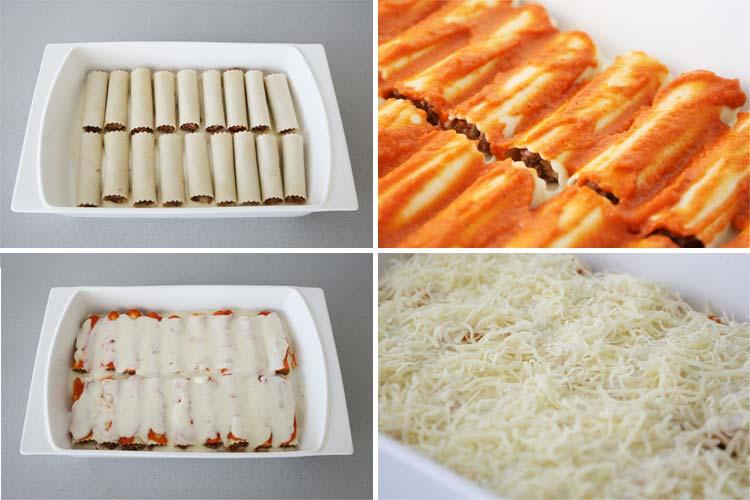 Coloca los canelones en una fuente y añade el queso rallado