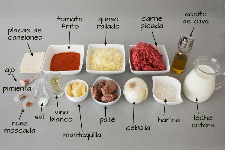 Ingredientes para hacer canelones de carne