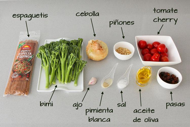 Ingredientes para hacer espaguetis de espelta salteados con bimi