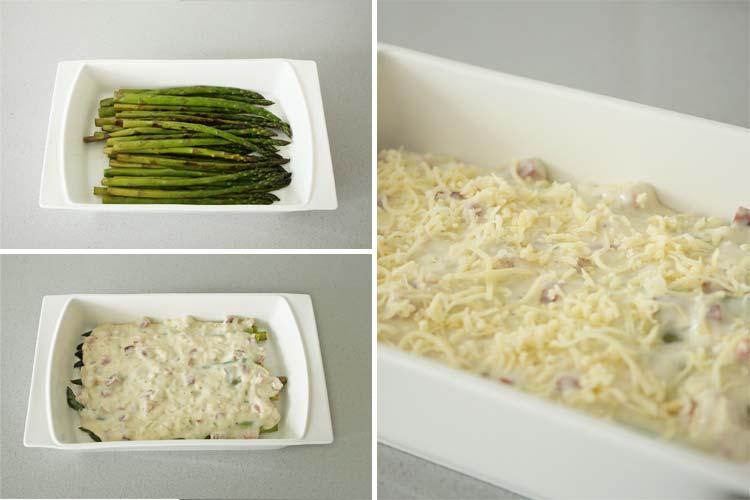 Colocar los espárragos en una fuente y cubrir con la bechamel y el queso rallado