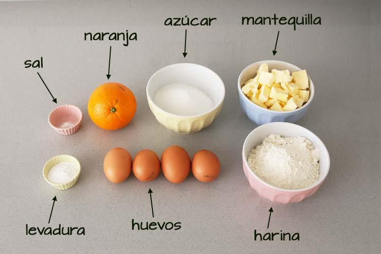 Ingredientes para hacer bizcocho de naranja