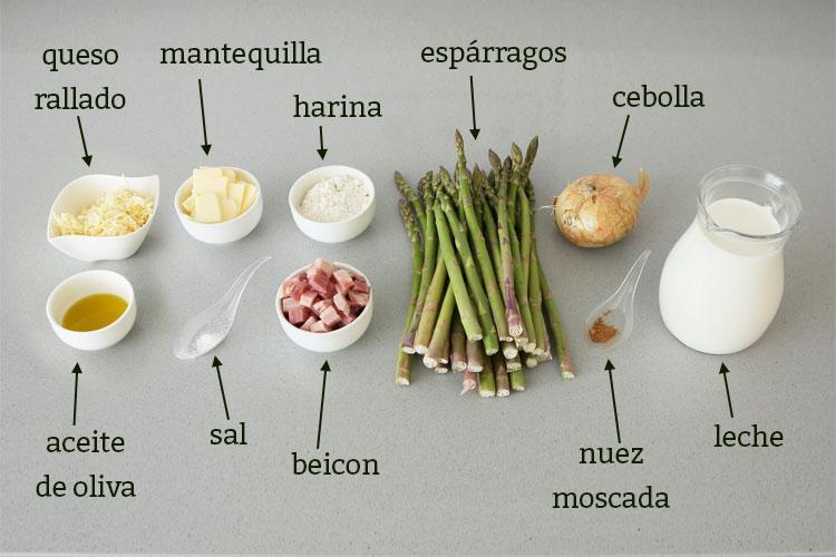 Ingredientes para hacer espárragos gratinados