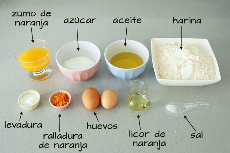 Ingredientes para hacer rosquillas de naranja