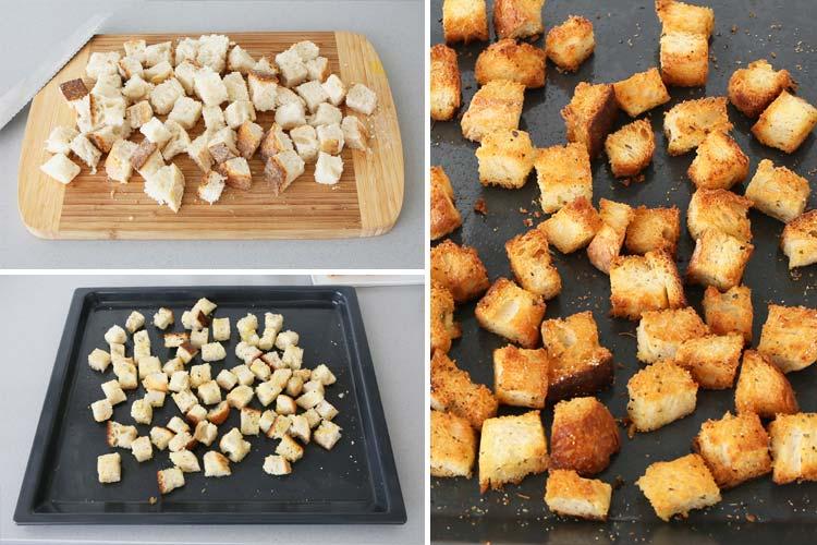 Cortar y hornear los croûtons de pan