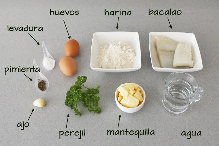 Ingredientes para hacer buñuelos de bacalao