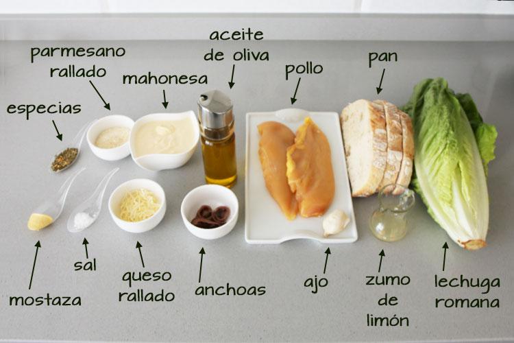 Ingredientes para hacer ensalada césar