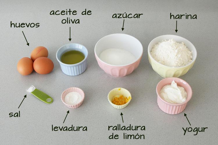 Ingredientes para hacer magdalenas de yogur