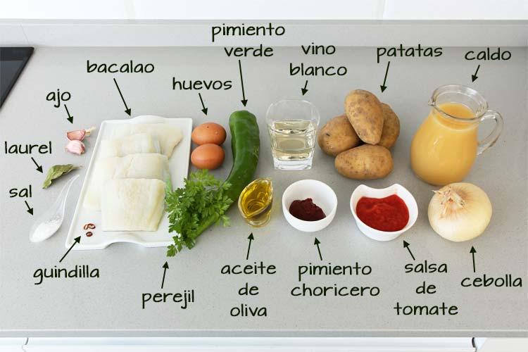 Ingredientes para hacer patatas con bacalao