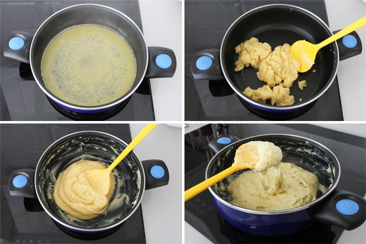 Derretir la mantequilla, añadir la harina, los huevos y el resto de ingredientes hasta formar una masa