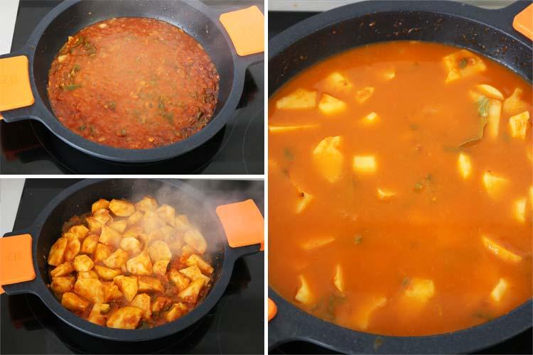 Incorporar el caldo al guiso de patatas
