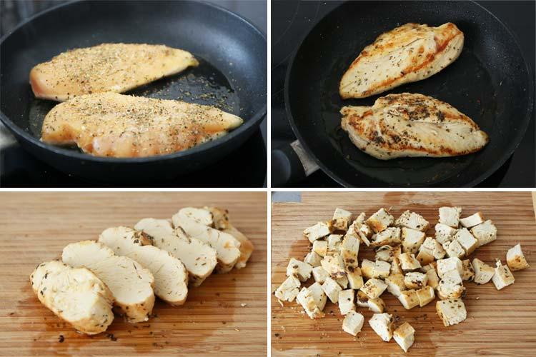 Sazonar las pechugas, cocinar a la plancha y cortar en cubitos.