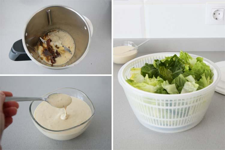 Triturar los ingredientes de la salsa césar