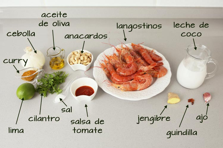 Ingredientes para hacer langostinos al curry