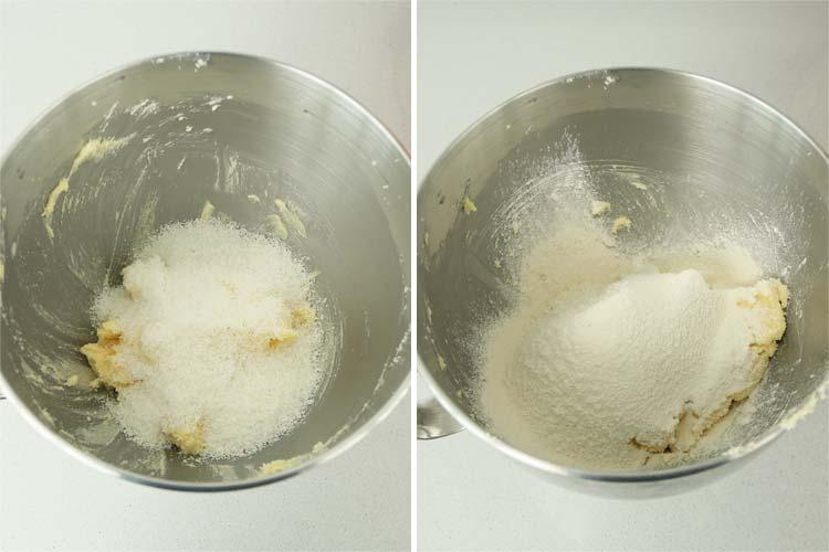 Incorporar la vainilla, el coco, la harina y la pizca de sal