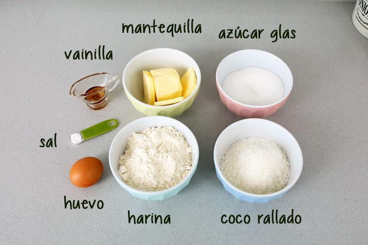 ingredientes galletas de coco caseras