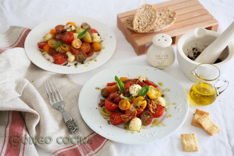 Ensalada de tomate cherry y mozzarella