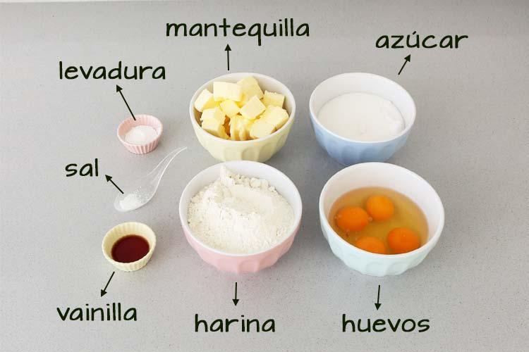 Ingredientes para hacer bizcocho cuatro cuartos
