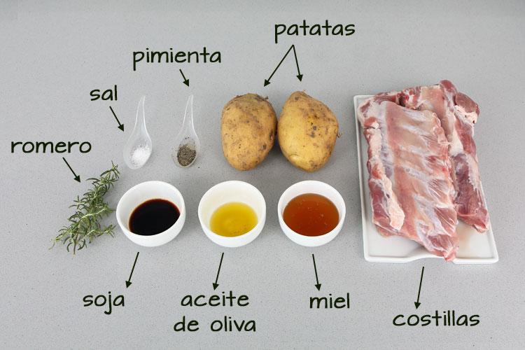 Ingredientes para hacer costillas a la miel