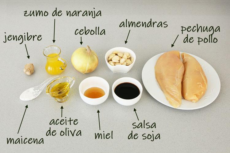 Ingredientes para hacer pollo agridulce con almendras