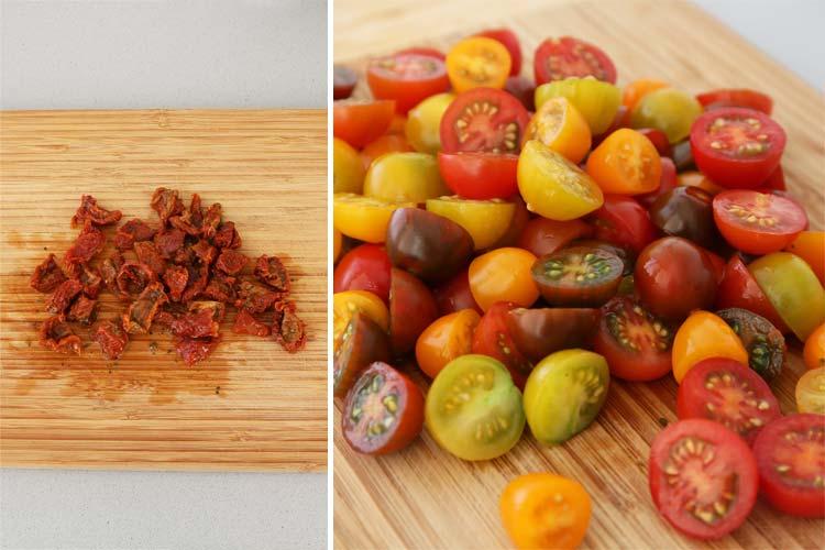 Trocear los tomates cherry