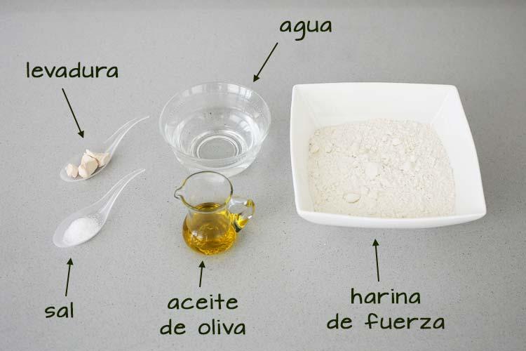 Ingredientes para hacer masa de pizza casera con el robot de cocina Mambo