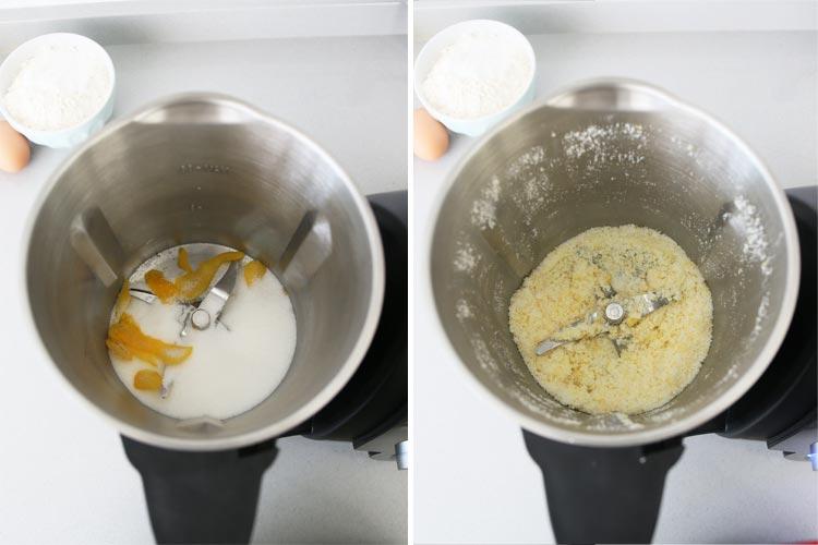 Pulverizar el azúcar con la cáscara de limón