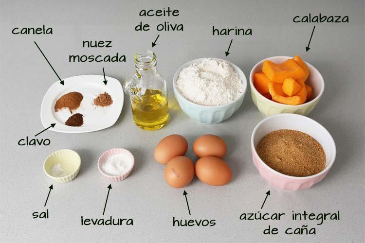Ingredientes para hacer bizcocho de calabaza especiado