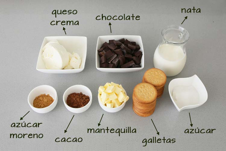 Ingredientes para cheesecake de chocolate
