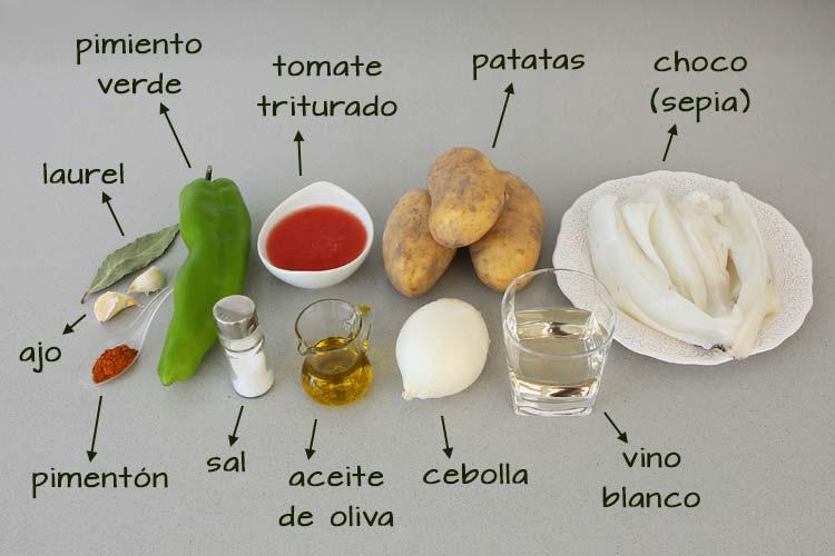 Ingredientes para hacer papas con choco