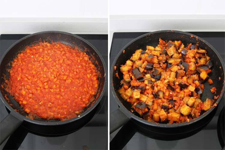 Añadir el tomate triturado y las berenjenas