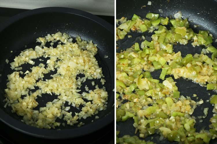 Sofríe la cebolla, el ajo y el pimiento verde