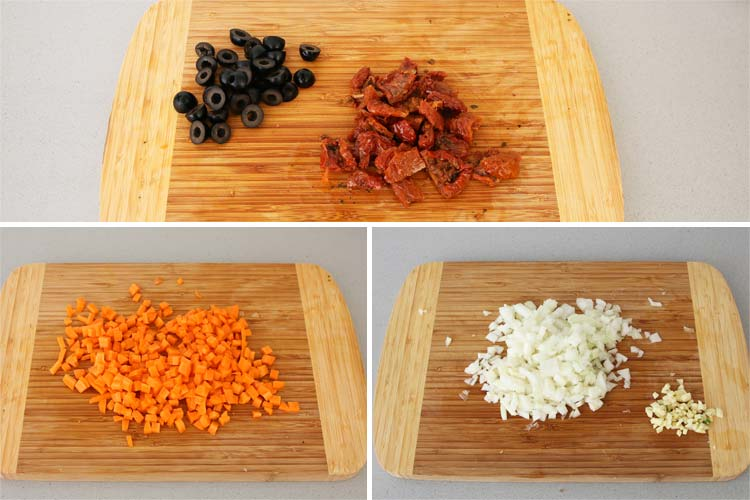 Trocear los vegetales de la receta