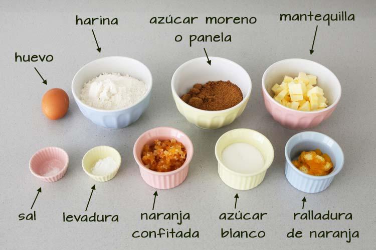 Ingredientes para hacer galletas de naranja