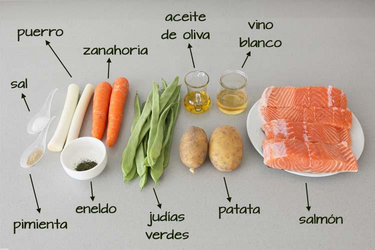 Ingredientes para hacer salmón en papillote