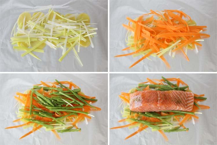 Verduras y salmón para hacer papillote