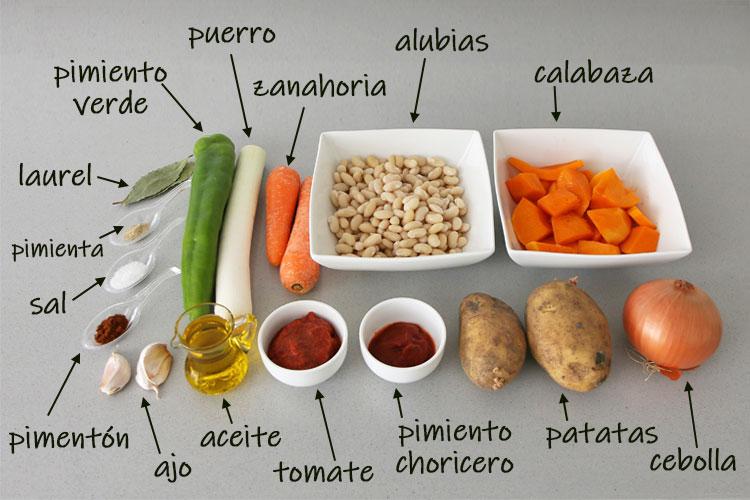 Ingredientes para hacer alubias con calazaba veganas