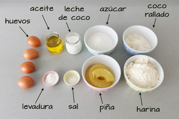 Ingredientes para hacer bizcocho de coco y piña