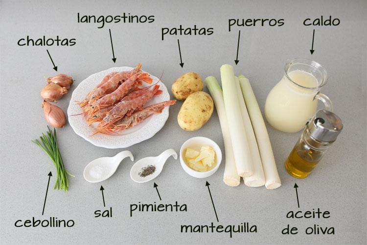 Ingredientes para hacer crema de puerros