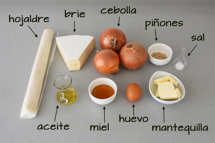 Ingredientes para hacer hojaldre con queso brie y cebolla
