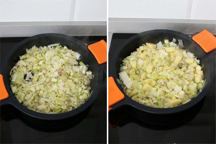 Incorpora el puerro y la patata