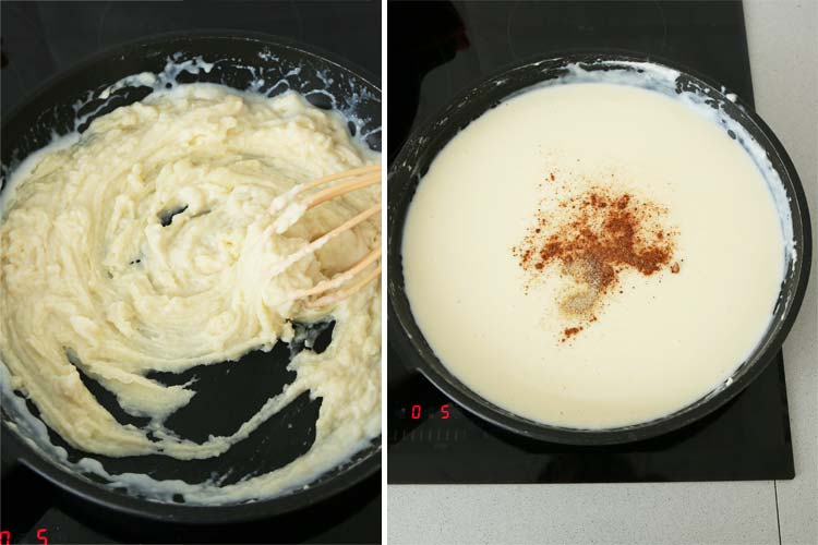 Añadir la leche, remover y condimentar